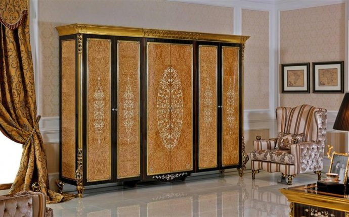 0061 Golden bedroom furniture wardrobe designs European Classic