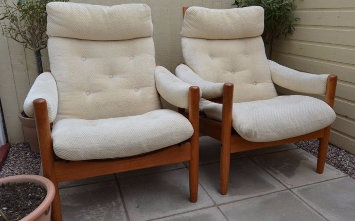 Details about Pair of Retro Teak Lied Mobler Armchairs Reclining