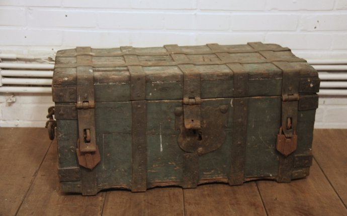 WOODEN CHEST WITH WROUGHT IRON FITTINGS