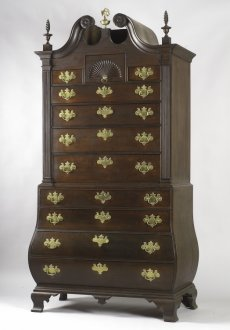 American Antique Furniture | Chippendale Mahogany Bombe Chest-on-Chest