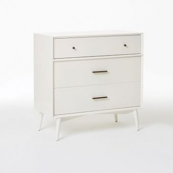 Mid-Century 3 Drawer Dresser, White