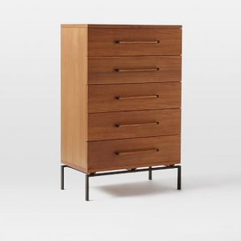 Nash Metal + Wood - 5-Drawer Dresser, Teak