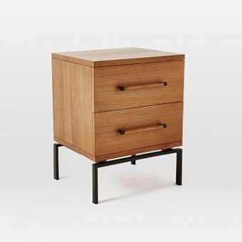 Nash Metal + Wood Nightstand, 2-Drawer, Teak