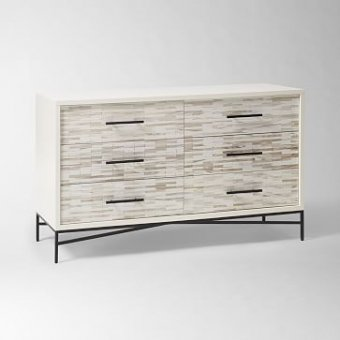 Wood Tiled 6-Drawer Dresser, Whitewash